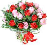 rausvos ir raudonos tulpes foto 1