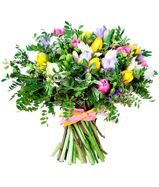 Puokste tulpes su frezijomis foto 1
