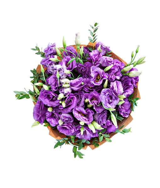 Violetiniu eustomu puokste foto 4