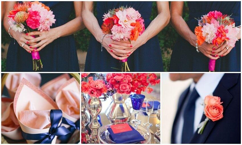 Mėlynai koralinės vestuvės